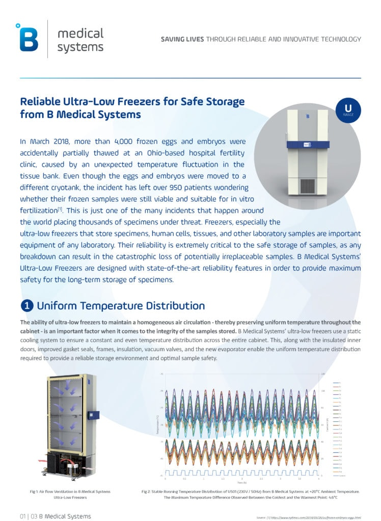 Ultra-Low Freezers: Reliability for Safe Storage of Valuable Samples