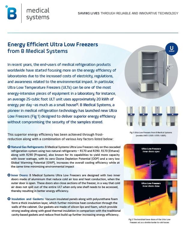 Ultra-Low Temperature Freezers of Superior Energy Efficiency