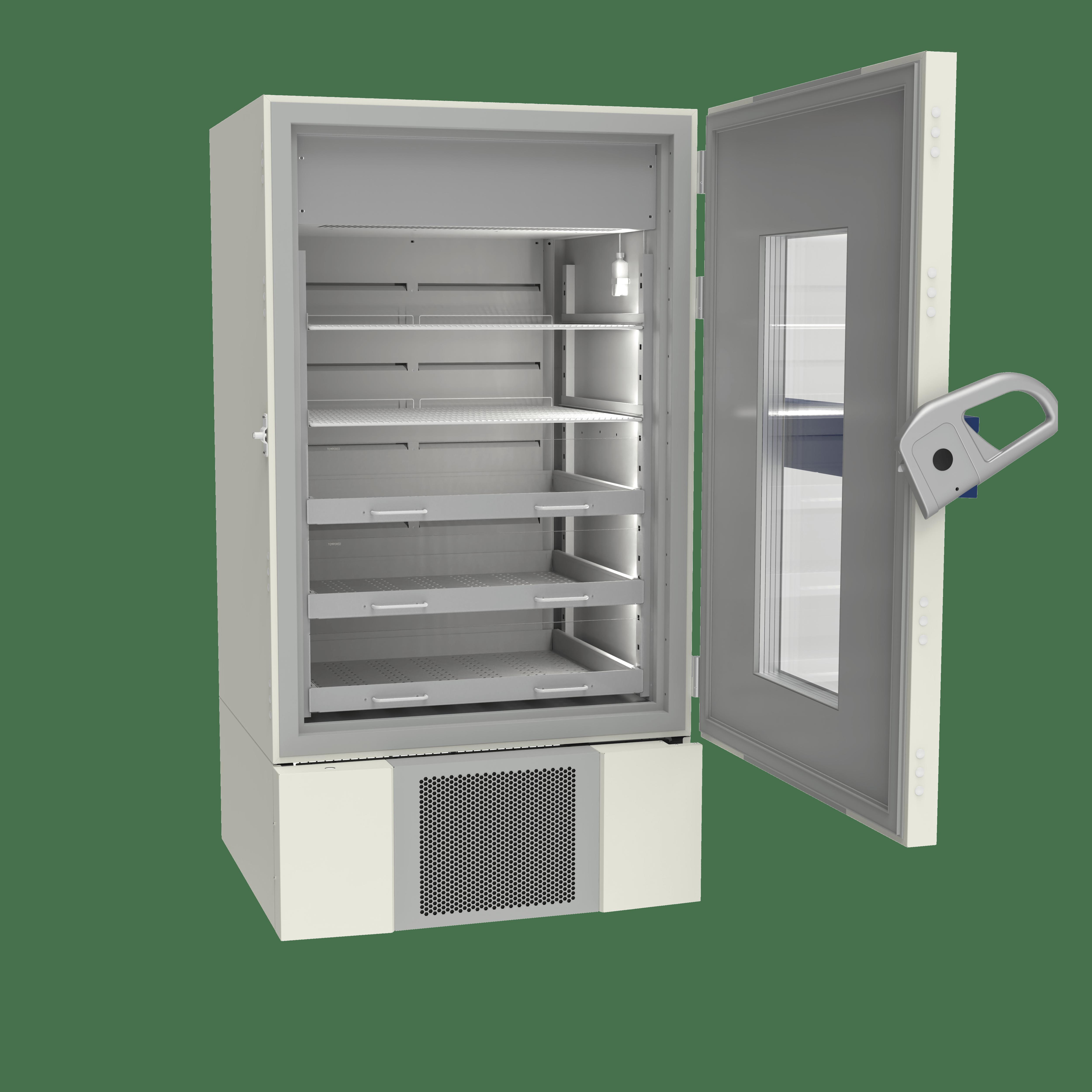 Pharmacy refrigerator P900 side with door open