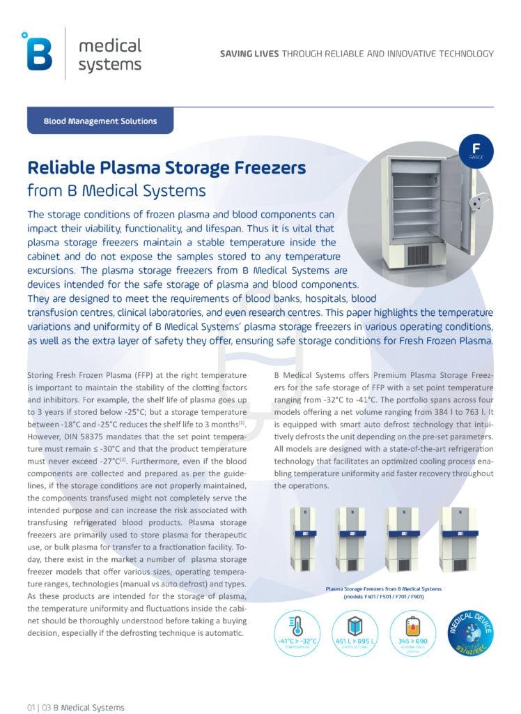 Reliable Plasma Storage Freezers