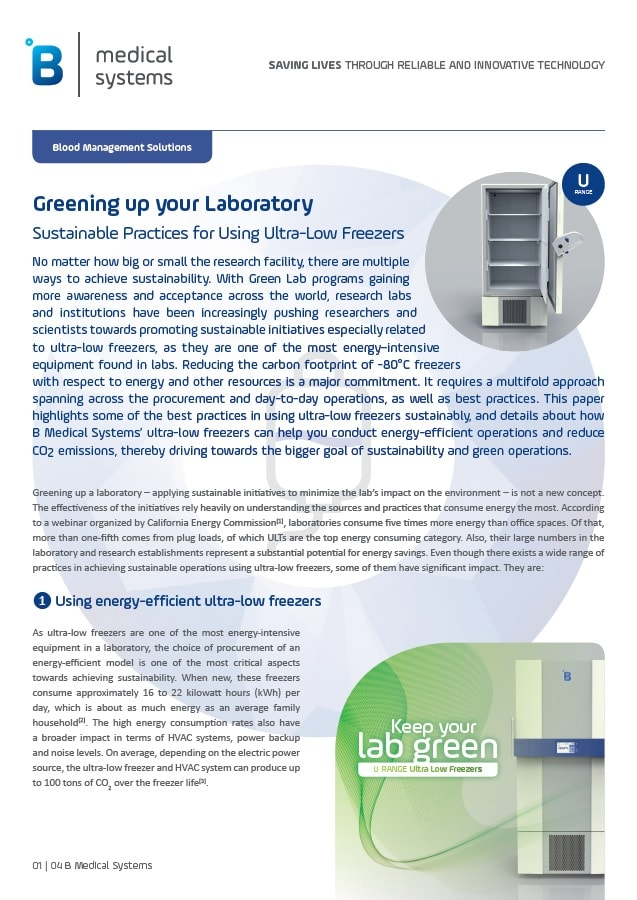 Sustainable Practices in Using ULT Freezers to Green up your Lab