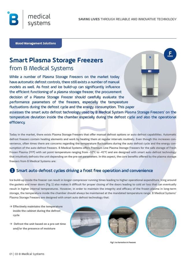 Plasma Storage Freezers with smart automatic defrost technology
